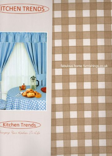 "KITCHEN COTTON PVC TABLECLOTH SQUARE 52""x52"" CHECK CREAM"